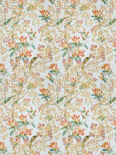 Beautiful multi-color design in Buchoz Floral Mandarin or The New York Botanical Garden Collection by Vervain! It has the perfect mix of floral, animal print and a tropical vice! Traditional Fabric, Traditional Design, New Puppy, Tropical Flowers, Botanical Gardens, Minis, Orange Color, Fabrics, York