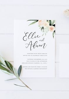 RV offers the printable Blushing Script wedding suite. This invitation suite captures a soft boho feel, featuring a free flowing script and watercolour foliage. INCLUDES: • High-res 300ppi digital design with your text inserted by RV • Invitation size: 5 x 7 • RSVP card size: 5 x