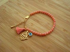 Evil Eye Beaded  Hamsa Bracelet  Coral Bracelet  by cocolocca