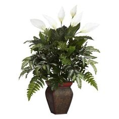 Nearly Natural 29 in. H Green Mixed Greens with Spathiphyllum and Decorative Vase Silk Plant 6677 - The Home Depot Silk Plants, Faux Plants, Indoor Plants, Small Palm Trees, Small Palms, Fake Plants Decor, Plant Decor, Decorative Planters, Bathroom Plants