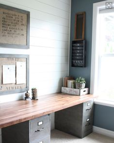 Repurpose filing cabinets with durable desk top.