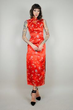 vintage 60's CHINESE silk satin Dress /// NOIROHIO VINTAGE