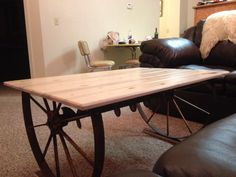 Make a end table out old farm equipment.