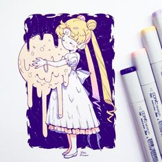 Copic Marker Drawings, Anime Drawings Sketches, Cool Art Drawings, Birthday Card Drawing, Sailor Moon Wallpaper, Anime Character Drawing, Sailor Moon Art, Kawaii Art, Art Reference Poses
