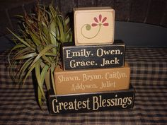 Personalized Nana's Grandma's Greatest Blessings Grandkids Grandchildren Names Wood Sign Shelf Blocks Primitive Country Rustic. $34.95, via Etsy.