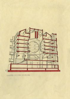 section drawing of the Philips Exeter Library by Louis Kahn drawn by Obada Ghabra, architecture student at the American University Of Sharjah, via Behance