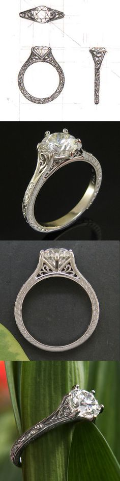 Delicate Antique Style Engagement Ring in Platinum  #greenlakejewelry
