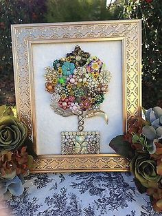 VINTAGE JEWELRY Mosaic Boudoir Glam Framed Floral Rhinestone Dazzling Topiary