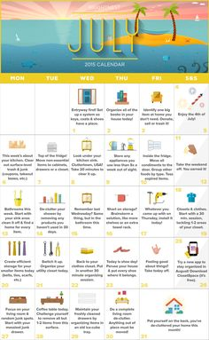 BrightNest | Your July Calendar for a Totally De-Cluttered House (Printable!)