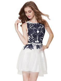 White Contrast Floral Mesh Panel Sleeveless Skater Dress