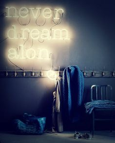 lights, interior, vans, dreams, letter, dream quotes, neon signs, bedroom, blues