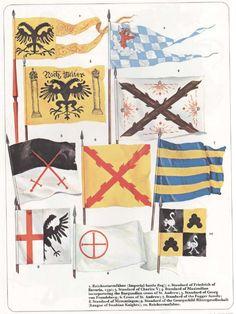 Lansquenets , Landsknechts et autres mercenaires   TROLLCALIBUR Medieval Banner, Renaissance, Badges, European Flags, Thirty Years' War, Seven Years' War, Nautical Flags, Holy Roman Empire, Landsknecht