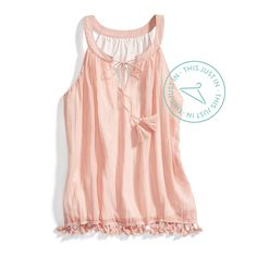 Celebrate summer in soft hues and tie fringe details.