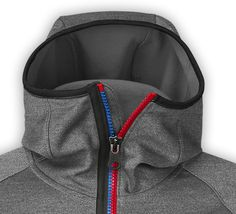Fun two tone zipper also functional fabric snorkel hood w/ multi color zipper