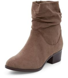 Wide Fit Brown Suedette Ruched Ankle Boots | New Look