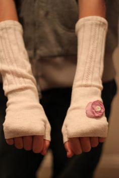DIY Fingerless Gloves from Socks or old sweater sleeves!  From Salty Pineapple