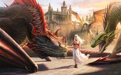 Daenerys Targaryen with her dragons ( Drogon, Rhaegal and Viserion ). Illustration that I made for the Game of Thrones tournament in Sevilla. more detai. Mother of Dragons Arte Game Of Thrones, Game Of Thrones Artwork, Game Of Thrones Gifts, Game Of Thrones Dragons, Got Dragons, Game Of Thrones Fans, Mother Of Dragons, T Art, Jaime Lannister