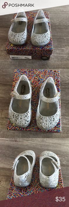 Mini Melissa shoes Mini Melissa glitter shoes. Very soft and flexible and smells great. Fits 1 1/2  or 2 year old toddlers Mini Melissa Shoes Sandals