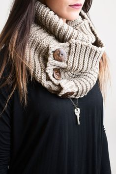 Knits All Good Mocha Infinity Scarf – Single Thread Boutique, $20.00 #scarf #knit #infinity #infinityscarf #mocha #fall #winter #buttons #woodenbuttons #warm #singlethreadbtq #shopstb #boutique