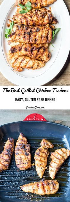These grilled chicken tenders! They are incredibly tasty and ready in no time! Perfect for those days when you need a quick meal but you do not have loads of time to slave in the kitchen. My kids absolutely adore this and start eating it when it is still hot out of the grill pan. Make this recipe, friends! Get the recipe on Precious Core. #GrilledChicken #SummerRecipes #GlutenFree #Grilling