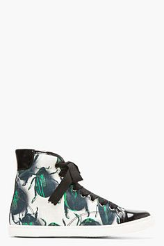 Lanvin Black & Green Leather-trimmed Canvas Beetle Sneakers for women $750