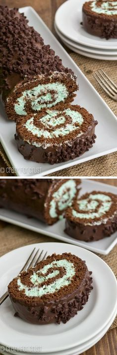 Mint Chip Cake Roll - an amazingly easy cake roll! Cupcakes, Cupcake Cakes, Food Cakes, Chocolate Roll Cake, Chocolate Desserts, Chocolate Lovers, Chocolate Ganache, Chocolate Swiss Roll, Mint Chocolate Chips