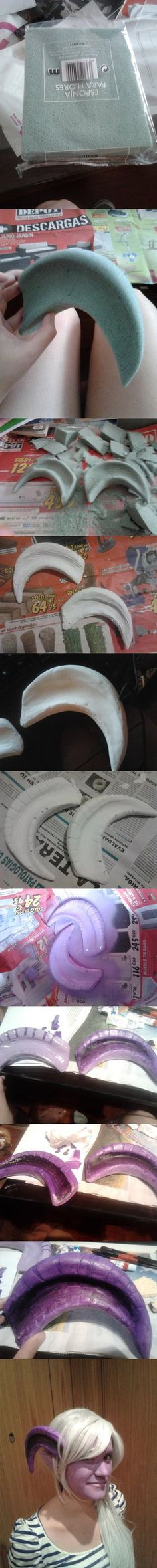 How to make cosplay Horns by ~brainsandwich on deviantART (I'm pinning this because she is using florist's foam, or whatever that is really called. That is so clever and I never thought of doing that before!) Costumes, How to Do Keka❤❤❤ Cool Costumes, Cosplay Costumes, Halloween Costumes, Costume Ideas, Male Cosplay, Cosplay Diy, Cosplay Ideas, Larp, Photos Booth