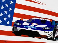 """""""First On Race Day GT""""  Son of Indy 30""""x40"""" Acrylic on Aluminum Panel original, inspired by Ganassi Racing's 2018 dominant performance in the IMSA/WEC series with the FORD GT."""