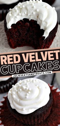 Everyone will be raving about this sweet treat! This recipe starts with moist and delicious cupcakes. Topped with an amazing cream cheese frosting, no one will know your secret — this to-die-for red… More Homeade Desserts, Delicous Desserts, Homemade Cupcake Recipes, Delicious Cupcakes, Homemade Cakes, Easy Desserts, Dessert Recipes, Yummy Recipes, Perfect Cupcake Recipe