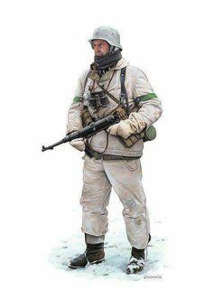 Soldier in Snow Gear   WWII