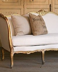Vintage Louis XV French Style Serpentine Gilt Daybed Antique, Serpentine, Couch, Sofa