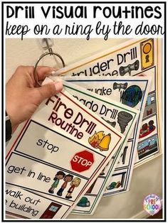 Emergency Drills Visual Routine Posters & Supports (Fire Drill, Earthquake, Tornado, & Intruder Drills) - Pocket of Preschool - ECLS-K - Visuals and supports to make emergency drills less stressful and scary for kids in your preschool, - Classroom Procedures, Autism Classroom, Special Education Classroom, Classroom Setting, Future Classroom, Classroom Activities, Classroom Ideas, Kindergarten Classroom Organization, Preschool Classroom Management
