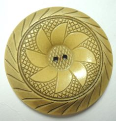 Vintage XL Celluloid Button Wheat Color Carved Flower Design | eBay