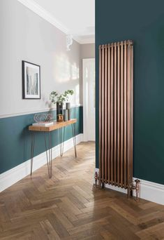 Dark green and copper radiator