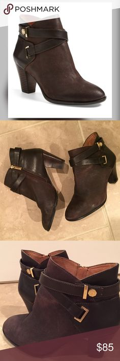 """Louise et Cie 'Ranier' Leather Bootie Worn twice - Wraparound straps detail the shaft of a chic leather bootie accented with touches of gleaming goldtone hardware and lifted by a sturdy stacked heel. 2 3/4"""" heel (size 8.5). Side zip closure Louise et Cie Shoes Ankle Boots & Booties"""