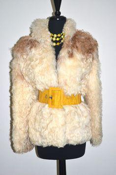 Vtg 70's 80's Cream Genuine Mongolian Tibetan Lamb Fur Coat Jacket S/M