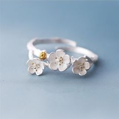 Silver Plated Plum Blossoms Flower Ring Branch Adjustable Finger Ring
