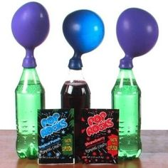 24 Kids' Science Experiments That Adults Can Enjoy, Too  You can blow up balloons with Pop Rocks because they contain a small amount of pressurized carbon dioxide gas. | 24 Kids' Science Experiments That Adults Can Enjoy, Too