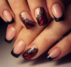 Lace is a classic design element in modern fashion. Today we are here to share and discuss the concept of lace nail art design. Today, lace nail art design is very popular. Many women are fascinated by complex and detailed fabric patterns. Lace Nail Design, Lace Nail Art, Lace Nails, Red Nails, Hair And Nails, Nails Design, Red Black Nails, Glitter Nails, Black French Manicure