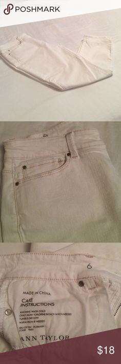 White ankle jeans Ann Taylor curvy fit white ankle jeans.  Classic jeans with flattering fit. Ann Taylor Jeans Ankle & Cropped