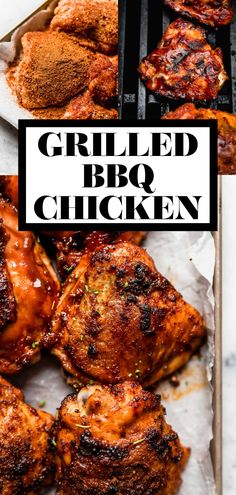 The best Grilled BBQ Chicken recipe! A quick brine, a flavorful dry rub & indirect grilling yield tender, juicy, & flavorful barbecue chicken every time. Bbq Chicken Rub, Chicken Marinade Recipes, Grilling Recipes, Best Grilled Chicken Marinade, Bbq Marinade, Grilling Chicken, Chicken Dips, Smoker Recipes, Rib Recipes