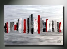CUSTOM 36 x 24 ORIGINAL ABSTRACT Cityspace painting Modern art by Orit Art Painting Abstract acrylic canvas modern art contemporary art city scape painting red silver red city art nyc painting cityspace painting large red abstract fathers day gift