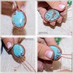 Cabochon wire wrapped pendant - tutorial with good photos showing subsequent stages