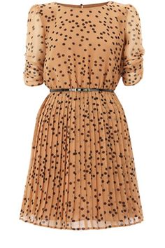 Spot Pleated Belted Skater Dress