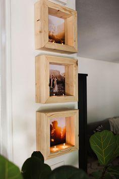 DIY tea light photo frame via A Beautiful Mess. DIY tea light photo frame via A Beautiful Mess.