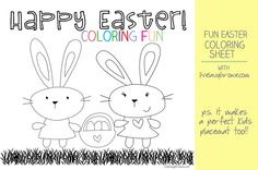 Adorable Free Printable  Easter Coloring Sheet by livelaughrowe.com