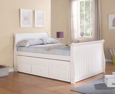 Donco Kids Sleigh Captains Bed White 125-FW