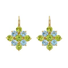 Bielka Peridot & Blue Topaz Cluster Drop Earrings
