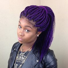 16 Purple braided styles for Black Women. People hues of braids are everywhere. You can wear these 16 purple braided styles in many shades, even lavender! Bob Box Braids Styles, Short Box Braids, Box Braids Styling, Braid Styles, Half Braided Hairstyles, Box Braids Hairstyles For Black Women, Bob Hairstyles For Fine Hair, Braided Ponytail, Purple Box Braids
