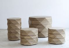 From the Tel Aviv-based textile duo of Tesler + Mendelovitch comes this line of tables and stools called, Diamond Woods.